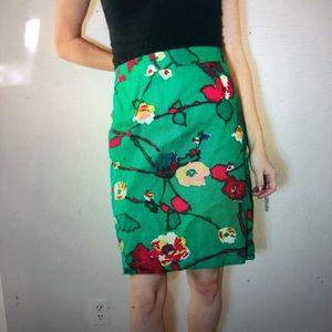J Crew floral basketweave pencil skirt